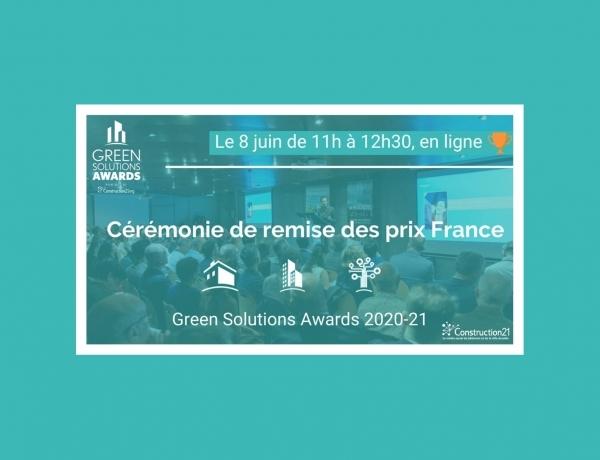 GREEN SOLUTIONS AWARDS | RDV le 08 juin pour suivre en live la cérémonie de remise des prix France!