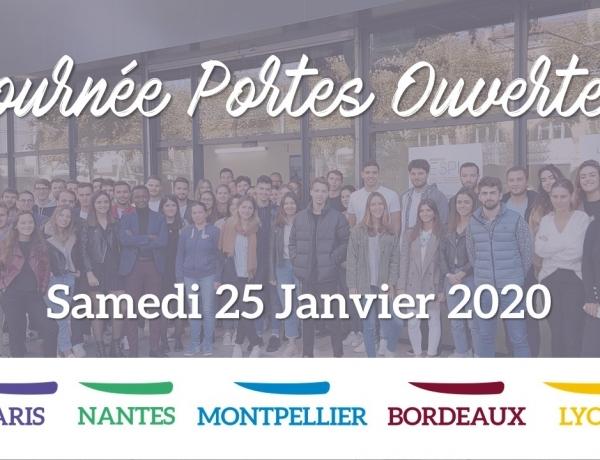 JPO | Samedi 25 janvier 2020, venez nous rencontrer sur les Campus de Paris, Nantes, Montpellier, Bordeaux & Lyon !